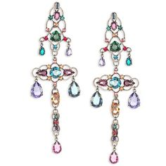 Lanvin Crystal Chandelier Clip-On Earrings ($1,790) ❤ liked on Polyvore featuring jewelry, earrings, apparel & accessories, multicolor earrings, crystal chandelier earrings, statement earrings, clip on earrings and crystal jewelry