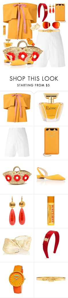 """Summer Chic"" by petalp ❤ liked on Polyvore featuring Rosie Assoulin, Lancôme, Rick Owens, Charlotte Olympia, Muzungu Sisters, Paul Andrew, Burt's Bees, Salvatore Ferragamo, Crayo and Alexander McQueen"