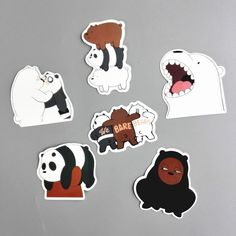 6 Pcs/Lot American Drama We Bare Bears Funny Sticker Decal For Car Laptop Fridge Backpack Notebook Waterproof Decal Stickers