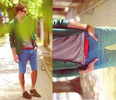 handsome colour palette ad styling brotha.. fresh. www.StyleSista.ca Clarks Shoes, Cropp Shorts, Tie Ups Belt, Zara Blazer, House T Shirt, New Look Sunglasses
