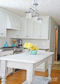 diy white painted kitchen cabinets reveal, diy, home decor, kitchen backsplashes, kitchen cabinets, kitchen design, kitchen islands, painting