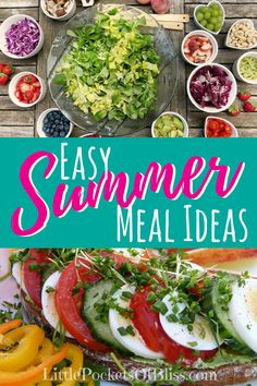 Easy Summer Meal Ideas that are healthy, light, great for feeding a crowd or on a budget. Who wants to cook on those hot days? Great for getting kids to help, and getting more fruit and veggies in your summer meals! Light Summer Meals, Easy Summer Meals, Healthy Summer Recipes, Healthy Recipes On A Budget, Budget Meals, Healthy Foods To Eat, Easy Meals, Healthy Eating, Summer Food