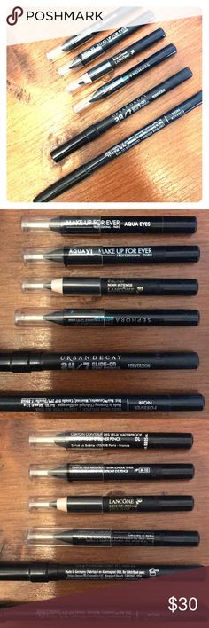 🤩 eyeliner pack- all the best black eyeliners! Six of the best selling pencil eyeliners. All brand new/unused. 3 sample+2 full size colors. Top to bottom in pics: 1. Make Up Forever Aqua Eyes waterproof eyeliner pencil in 10 2. Make Up For Ever Aqua XL extra long lasting waterproof eye pencil in M-10 3. Lancôme Drama Liqui-Pencil extreme longwear eyeliner in Noir Intense 4. Sephora waterproof contour eye pencil 12hr wear in Black Lace Matte 5. Urban Decay 24/7 Glide On Eye Pencil in…