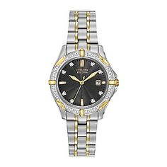 jcp   Citizen® Eco-Drive™ Womens Two-Tone Stainless Steel Diamond Accent Watch