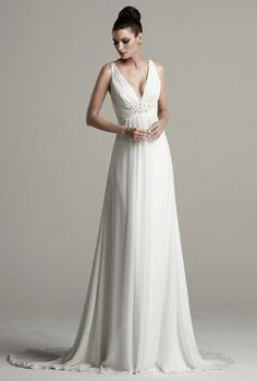 Goddess style wedding dress v-neck front and criss cross back by Kitty Chen - Gardenia
