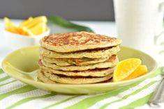 Zucchini Greek Yogurt Pancakes are fluffy on the outside & creamy on the inside. A great low calorie breakfast to start your day!