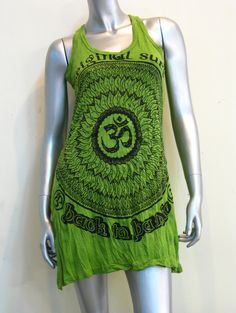 New Sure Design Womens Flower Ohm Tank Dress Lime $19.00 at http://www.suredesigntshirts.com