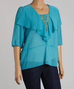 Another great find on #zulily! Turquoise Beaded Ruffle Top - Plus by C.O.C. #zulilyfinds
