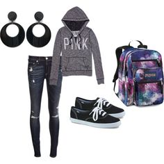 """""""Outfits for school, by aeris-mia-busa on Polyvore. I cant lie i really hate the ear rings with this outfit!"""