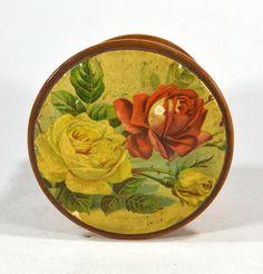 thread box mauchline treen advertising Coats wooden round antique roses  #JPCoats #coats