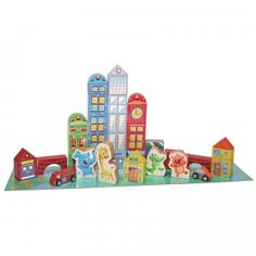 Kids can build their own little city with the Playskool Elefun City Blocks.
