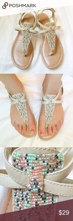 Jessica Simpson beaded sandals Gorgeous beaded sandals by Jessica Simpson. Featuring a adjustable heel strap, these sandals were worn a handful of times and are in EUC av. Jessica Simpson Shoes Sandals