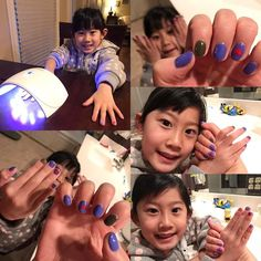 """I'm in love with the color changing gel nails. I tried a simple Valentine's Day design today. Audrey said she wanted the exact same thing on hers so I did it. She said """"mommy I love you the best! We are like twinsies!"""" The colors are dark purple/blue and dark green (index finger) when it's cold; light purple and pink (index finger) when it warm. The hearts on our ring fingers are always red! #girlsparty #motherdaughter #motherdaughtertime #playtime #gelnails #gelnailart #gelnailsdesign…"""