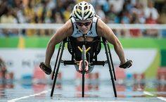 Belgium's Marieke Vervoort runs during the final of the women's 400 m (T52) of…