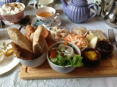 TEA TRIVIA TUESDAY Farmer's Tea is a combination of a Ploughman's Lunch (heavy grained bread, sharp cheese, fruit, and sausages or . Ploughman's Lunch, Cheese Fruit, British Pub, Tea Service, Sausages, High Tea, Trivia, Tuesday, Pie