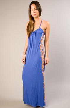 Perf cobalt blue sun dress - Gypsy05 Bamboo knit maxi