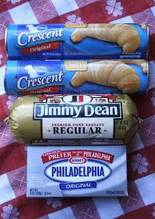 Sausage Rolls: 1lb. Mild Pork Sausage, 2 Cans Crescent Rolls, 1 (8oz.) Package Cream Cheese (Softened), 1 Egg White, Poppy Seed (Could Also Use Green Chilis, Pepper Jack Cheese, Mushrooms, Rotel - List Is Endless!)