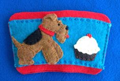 Welsh terrier coffee cozy by Ecotrinkets - Amy Monthei Find a current selection of available Ecotrinkets here: https://www.etsy.com/shop/Ecotrinkets