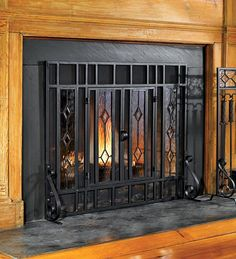 Beveled Glass Fireplace Screen | Hearth | Plow & Hearth
