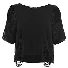 Killstar bauchfrei Crop Top Damen T-Shirt Schwarz - Nu-War Gothic geschlitzt