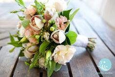 bouquet with sea shells - Shannon and Peter's Australian Beach Wedding