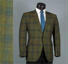 Vintage Mens Blazer Sport Coat Jacket 1960s ROCKABILLY Green and Teal Iridescent Plaid