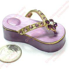 f7537304a8f4dd Purple Flip Flop Enamel Crystal Trinket Box
