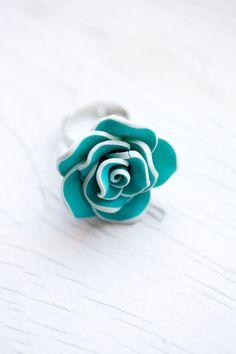 Blue & White Flower Ring