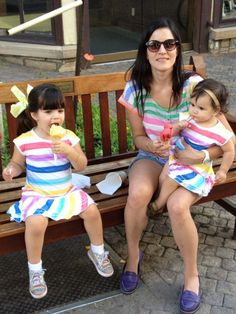 Girls in old navy dresses, mom in splendid t shirt. Matching family outfits, mother and daughter matching