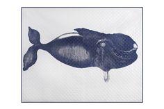 Humphrey Throw in Indigo. Hand silk-screened. Design by Thomaspaul.