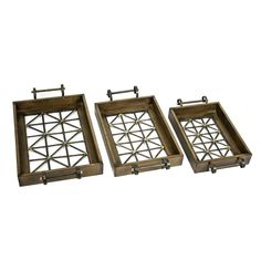 Sagebrook Home Wood and Metal Lattice Trays - Set of 3 - AW10148-01