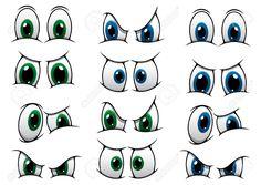 Conjunto De Ojos De Dibujos Animados Con Los Iris Azules Y Verdes Que Muestran Diversas Expresiones De Ira, A Través De Sorpresa A Un Ceño Fruncido Ilustraciones Vectoriales, Clip Art Vectorizado Libre De Derechos. Image 32438484.