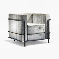 """A concrete version of a stunning design chair: #LC2 Petit #Armchair (#Stone Edition), originally designed by Le #Corbusier, Pierre #Jeanneret and Charlotte #Perriand in 1928. """"The #cube #chair""""."""