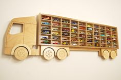 Hot Wheels Toy Car Storage, Display 60 Cars, Birthday Gift Idea for boys & Better than a toy box! Toy storage Car Shelving in Birch Plywood Juguete coche 'Truck' camión de plataforma por IconAndCoWales Toy Car Storage, Kids Storage, Storage Ideas, Storage Design, Matchbox Car Storage, Camper Storage, Matchbox Cars, Small Storage, Shelf Ideas