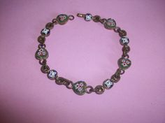 Vintage Micro Mosaic Heart Brass Tone Bracelet  by HeartsMaddness, $38.00