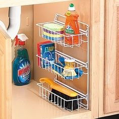 Kitchen organization for under the sink cleaning products