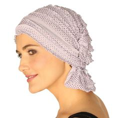 Chemo Beanies Head Cap Scarf Hat for Women Cancer Patients Purple Black Dots - Comfortable, functional and fashionable head covers. Secure fit with ruffle over nape of the neck. The unique elastic design stretches for a comfortable and easy fit. Slips on and off with ease. No tying necessary.