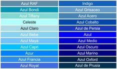 Tonalidades y nombres del color Azul.