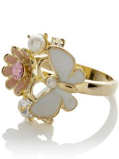 Flower butterfly ring