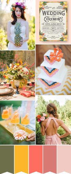 Tropical Wedding Colour Palette. I don't understand why she's holding the pineapple. Love the crown. Marion en haut à droite!!!