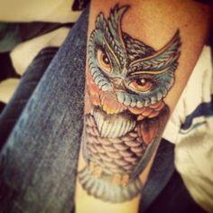 Beautiful Owl Tattoo On Arm