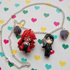 Black Butler necklace with handmade polymer clay by Akindoonline