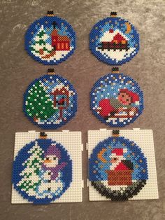 Christmas Ornaments Boules de Noël hama Some Small Melty Bead Patterns, Pearler Bead Patterns, Perler Patterns, Beading Patterns, Hama Beads Design, Diy Perler Beads, Perler Bead Art, Christmas Perler Beads, Art Perle