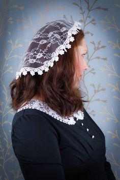 Ivory Lace Doily Chapel Cap Veil Ladies Sunday Hat for | Etsy First Communion Veils, Première Communion, Catholic Veil, Chapel Veil, Techniques Couture, Lace Veils, Lace Wrap, Church Hats, Lace Doilies
