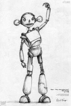 Piper concept sketches for the Movie Robots