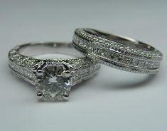 Vintage Three Side Pave Engagement Ring & Matching Wedding Ring