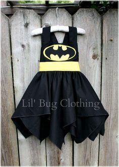 Custom Boutique Clothing Super Hero Bat Girl Black And Yellow  BIrthday Costume
