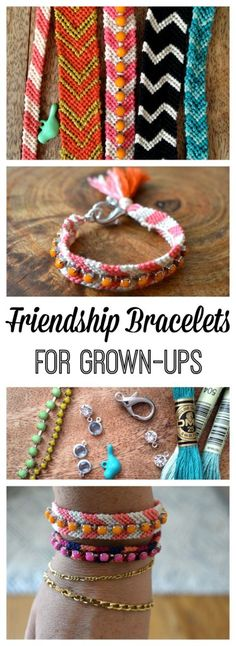 Simple DIY tutorial for making pretty, embellished friendship bracelets with tassels, rhinestones, and charms. Kids can't have all the fun!