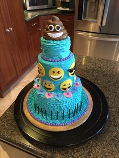Emoji cake!!! Fondant emojis and fondant poop! Buttercream icing and sixlet candies. So cute and yummy!