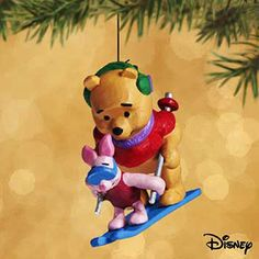 Hallmark Miniature Ornament 2002 On The Slopes - Winnie the Pooh - #QXD4553 #Hallmark
